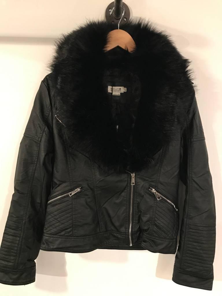Fur collar black moto
