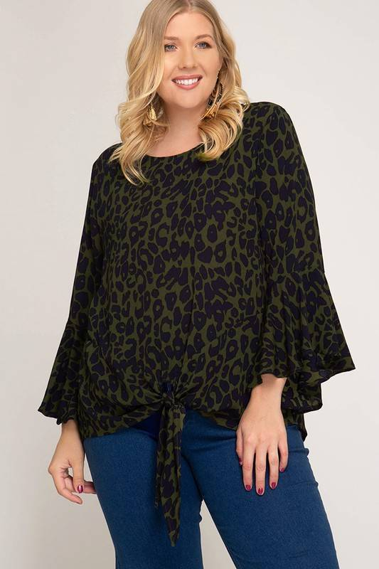 Bell Sleeve Leopard Print Blouse