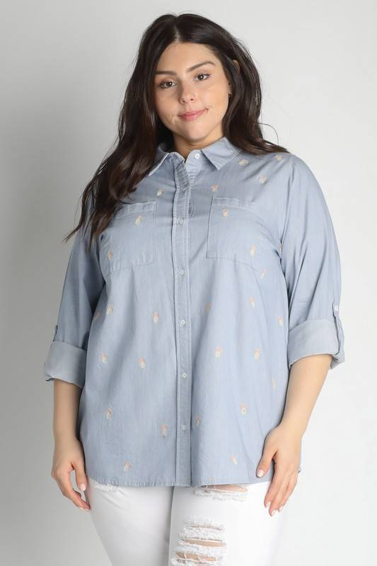 Pineapple Embroidered Denim Shirt