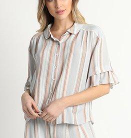Round Collar Striped Blouse
