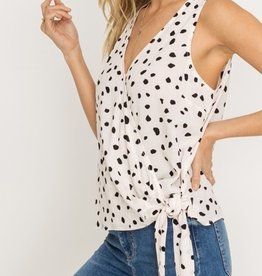 Printed Wrap Blouse