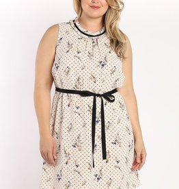 High Neck Printed Dress