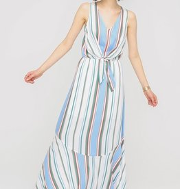 Blue Multi Stripe Maxi Dress