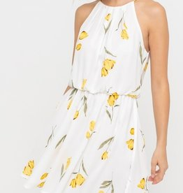 Pleated Neckline Mini Dress