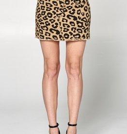 Leopard Denim Mini Skirt