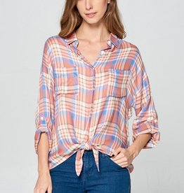 Tie Front Plaid Top