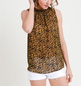 Leopard Ruffle Neck Blouse