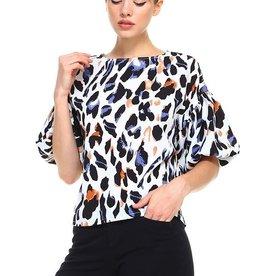 Leopard Ruffle Sleeve Blouse
