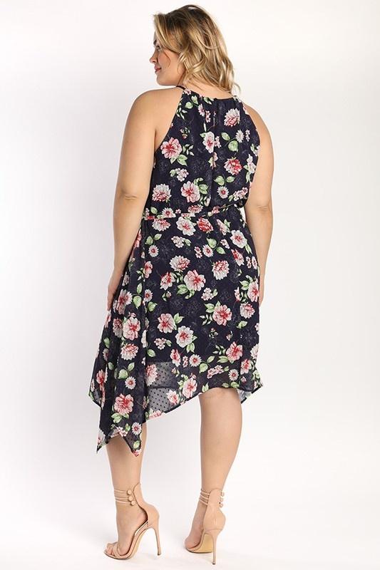 Floral Chiffon Halter Dress