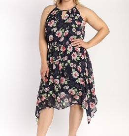 Floral Chiffon Halter Dress
