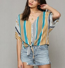 Multi Color Tie Front Top