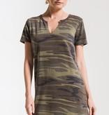 Camo Split Neck Dress