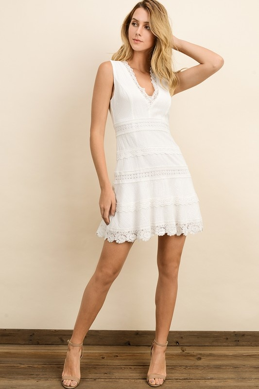 Eyelet Lace Mini Dress