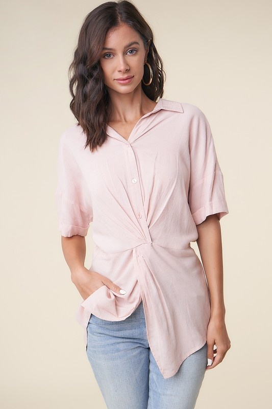 Twist Front Split Blouse
