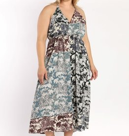 Skies are blue Floral Color Block Maxi