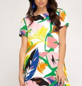 She+Sky Tropical Printed Shift Dress