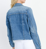 Just Black Denim Fray Hem Denim Jacket