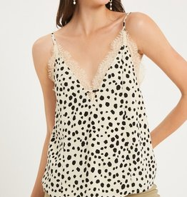 Listicle Leopard Lace Detail Cami