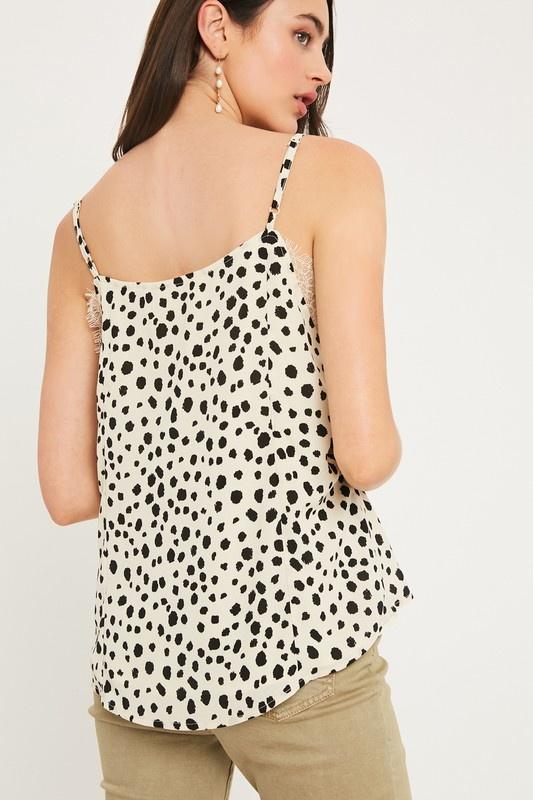 Listicle Leopard Lace Detail Cami