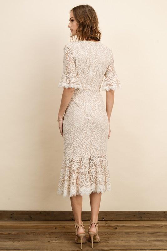 Dress Forum Lace Scallop Midi
