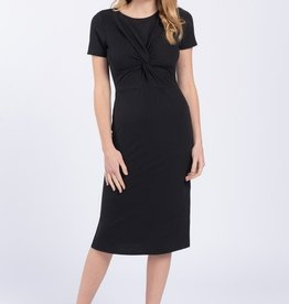 Everly Solid Front Twist Dress