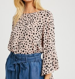 Spotted Bell Sleeve Blouse