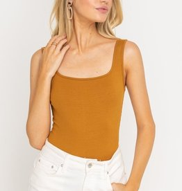Lush Square Neck Ribbed Bodysuit