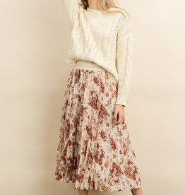 Dress Forum Rose Print Pleated Skirt