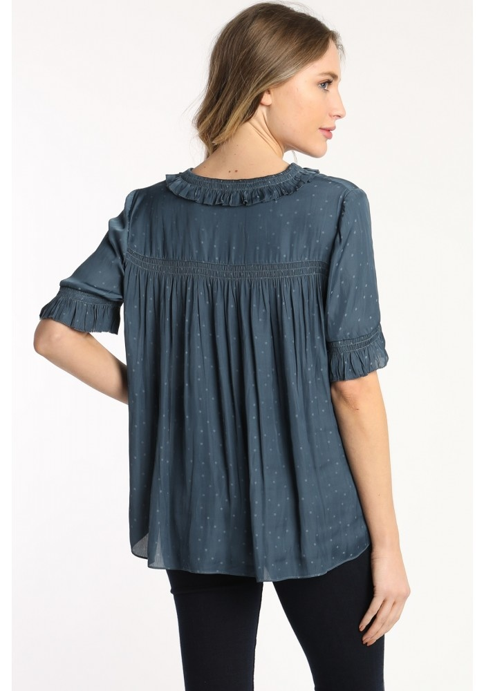 Skies are blue Satin Ruffle Sleeve Blouse
