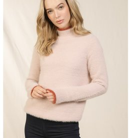 Skies are blue Fuzzy Mock Neck Sweater