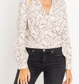 Lush Printed Wrap Blouse