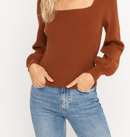 Lush Square Neck Balloon Slv Sweater
