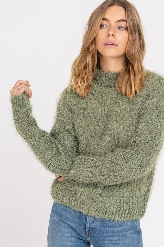 All In Favor Mock Fuzzy Sweater
