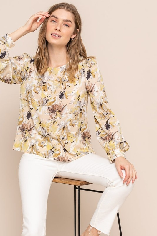 All In Favor Watercolor Floral Blouse