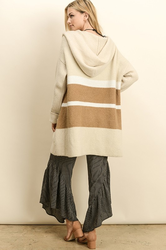 Dress Forum Color Block Hood Cardigan