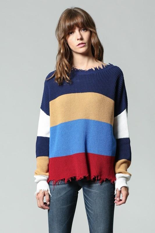 Fate Distressed Color Block Sweater