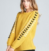 Ellison Lace Up Sleeve Sweater