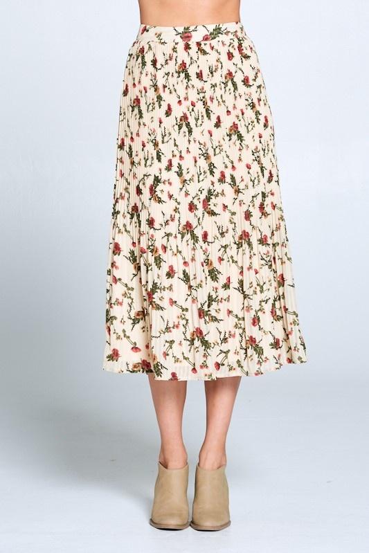 Ellison Floral Pleated Skirt