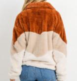 Paper Crane Color Block Fur Jacket