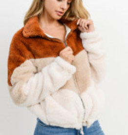 Paper Crane Color Block Fur Jacket