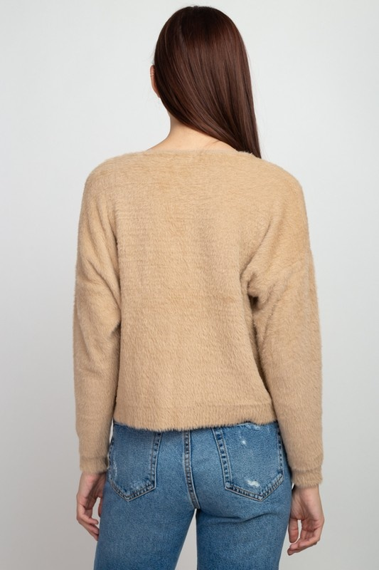 Dreamers Fuzzy V Neck Sweater