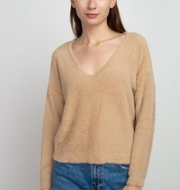 Dreamers Fuzzy V Neck Sweater