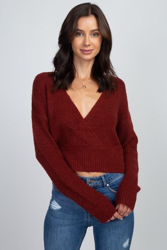 Dreamers Surplice Front Sweater