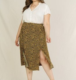 Skies are blue Leopard Slit Skirt