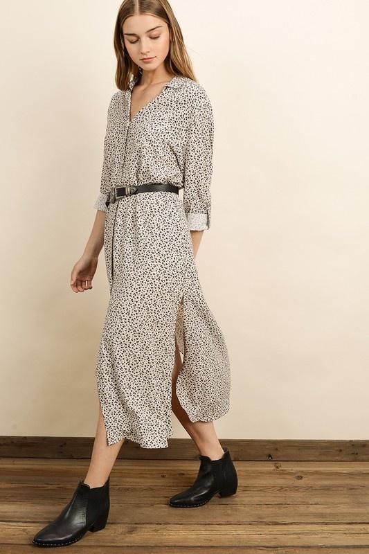 Dress Forum Leopard Button-Up Shirt Dress