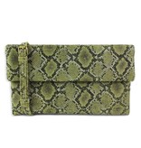 Street Level Snakeskin Foldover Clutch