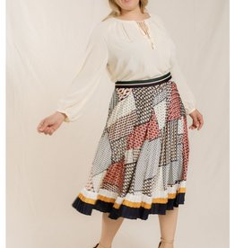 Skies are blue Pleated Patchwork Skirt