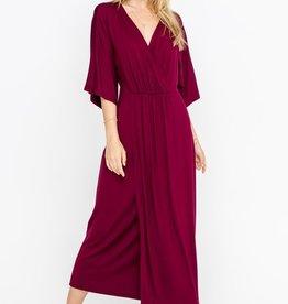 All In Favor Wide Sleeve Jersey Wrap Dress