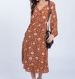 Everly Rust Midi Dress Button Front