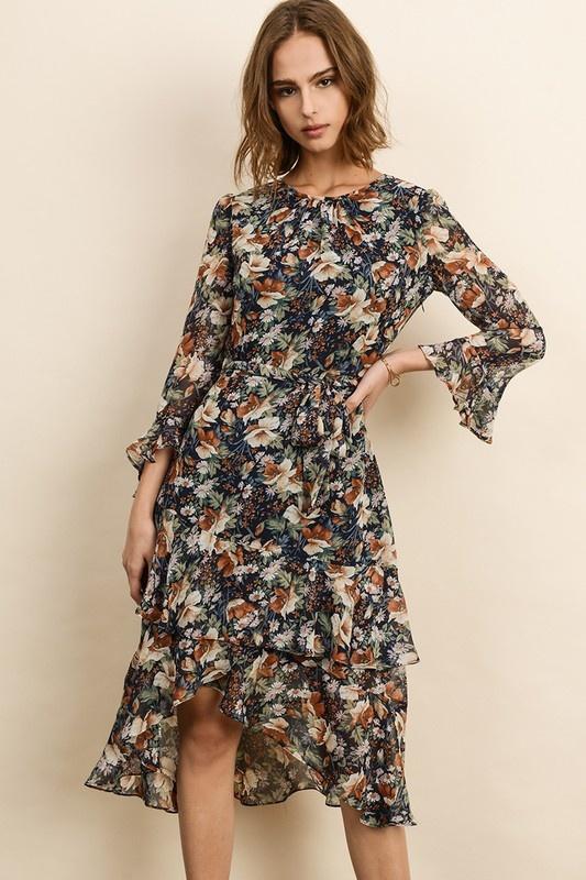 Dress Forum Floral Ruffle Midi Dress